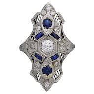 Art Deco 18k White Gold Diamond Ring with Blue Sapphires 0.50 Tcw