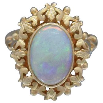 Natural Opal Cabochon Ladies Ring Crafted in 14k Yellow Gold