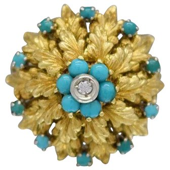 Blue Coral & Diamond  Ladies Ring Crafted in 18k Yellow Gold