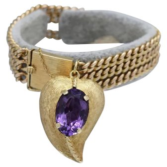 Gorgeous Double Sided Amethyst Ladies Bracelet in 14k Yellow Gold