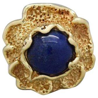 Elegant Lapis Lazuli Cabochon Ladies Ring in 14k Yellow Gold