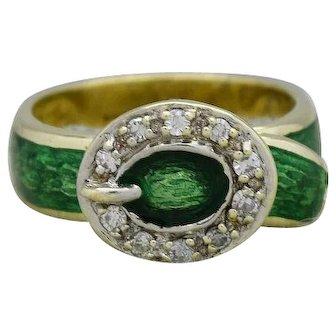 Beautiful Ladies Green Enamel & Diamonds Ring in 14k Yellow Gold