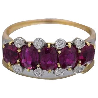 Ruby & Diamonds Ladies Ring Crafted in 18k Yellow Gold