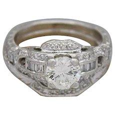 Old European Cut Ladies Diamond Ring set Crafted in Platinum