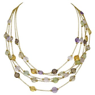 "Ladies Necklace 18k Yellow Gold with Semi Precious Stones Adjustable 16""-18"""