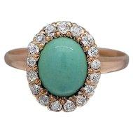 Victorian Oval Turquoise & Diamonds Ladies Ring