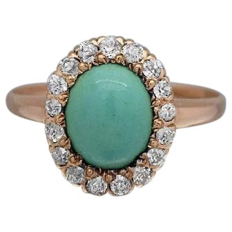 Victorian Oval Turquoise & Diamonds Ladies Ring