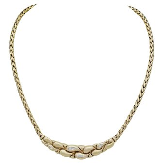 Ladies Diamond Necklace Crafted in 14k Yellow Gold
