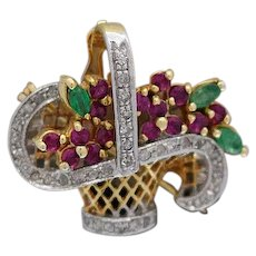 14k Gold Vintage Flower Bouquet Brooch with Diamonds,Rubies and Emeralds