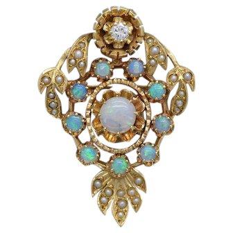 Beautiful 14k Yellow Gold Vintage Charm Pendant with Gemstones