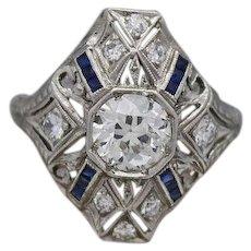 Art Deco Old European Cut Diamond & Sapphires Ring Crafted In Platinum (1.34 Tcw)