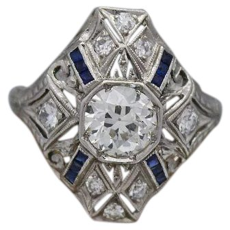 Art Deco Old European Cut Diamond & Sapphires Ring Crafted In Platinum (1.34 Tcw)