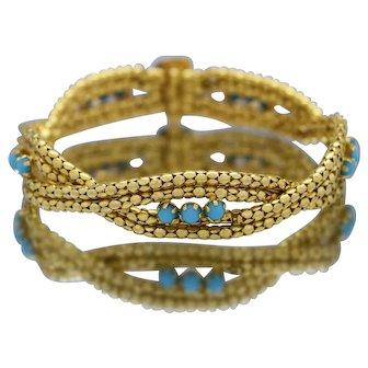 Beautiful 21k Yellow Gold Ladies Blue Coral Bracelet
