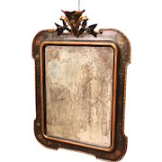 Italian Carved, Lacquered And Painted With Floral Decorations Mirror From 19th Century