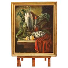 20th Century Spanish Signed Still Life Painting Oil On Canvas With Gilt Frame