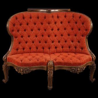 20th Century Italian Corner Sofa in Red Velvet And Walnut, Mahogany, Palisander Wood