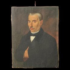 Antique painting depicting a gentleman portrait from 19th century