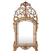 Italian Mirror In Golden Wood From 20th Century