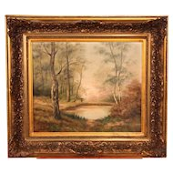 19th Century French Landscape Painting Oil On Canvas Signed Lionel