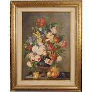 20th Century Italian Still Life Painting On Canvas Vase With Flowers