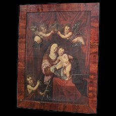 18th Century Italian Religious Painting Coronation Of Madonna With Child Oil On Canvas