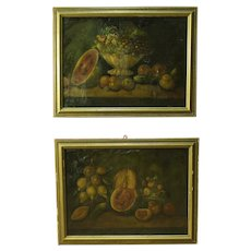 Pair Of 20Th Century Still Life Paintings Depicting Flowers And Fruits