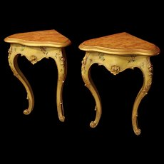 Pair Of Lacquered And Gilded Venetian Corner Tables From 20Th Century