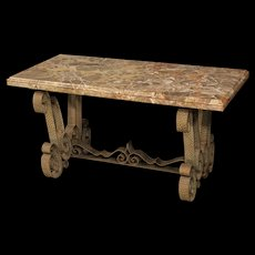 Italian Metal Coffee Table With Marble Top From 20Th Century