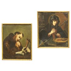 18th Century Pair Of French Religious Paintings Virgin And Saint Francis Oil On Canvas