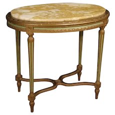 20th Century Italian Lacquered Side Table With Marble Top