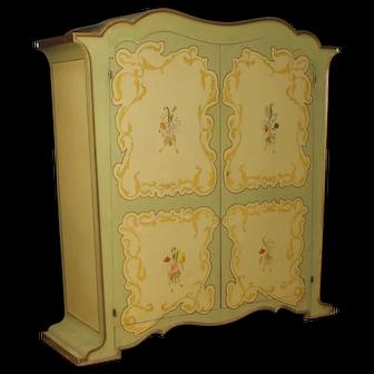 20th Century Italian Wardrobe In Painted Wood In Art Nouveau Style