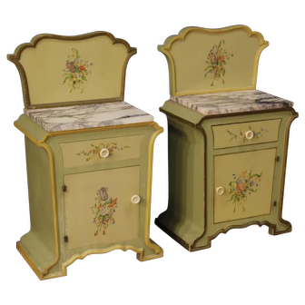 20th Century Pair of Italian Bedside Tables In Painted Wood In Art Nouveau Style