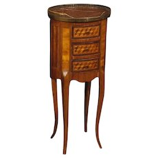 20th Century French Inlaid Side Table In Rosewood, Mahogany, Maple, Walnut With Marble Top