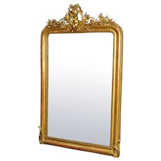 19th Century French Mirror In Gilt Wood And Plaster With Little Angel