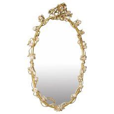 20th Century Italian Mirror With Floral Decorations