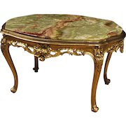 20th Century Italian Living Room Coffee Table In Gilt Wood And Plaster With Onyx Top