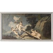 18th Century Italian Painting Landscape With Little Angels