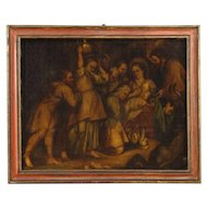 18th Century Spanish Religious Painting Holy Family Oil On Canvas With Painted Frame