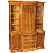 20th Century English Bookcase In Walnut, Burl And Beech