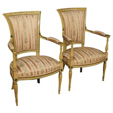20th Century Pair Of French Armchairs In Lacquered And Painted Wood With Floral Fabric