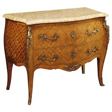 20th Century French Inlaid Commode In Rosewood With Marble Top In Louis XV Style