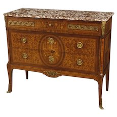 20th Century French Inlaid Dresser With Marble Top