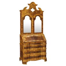 20th Century Venetian Trumeau in Walnut and Burl Wood With Mirrors