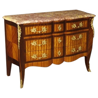 20th Century French Inlaid Wood Chest Of Drawers With Marble Top