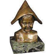 20th Century Italian Bronze Sculpture Child With Hat