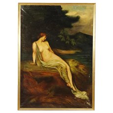 20th Century Italian Signed And Dated Painting Oil On Canvas Landscape With Female Nude