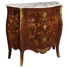 20th Century French Inlaid Dresser In Wood With Marble Top In Louis XV Style