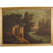 19th Century Spanish Oil Painting Landscape With Ruins