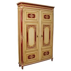 20th Century Italian Lacquered Wardrobe In Wood In Louis XVI Style 2 Doors
