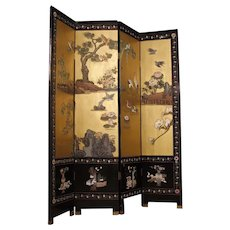 20th Century French Screen In Lacquered And Painted Chinoiserie Wood